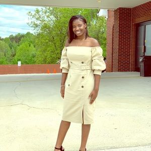 Off the shoulder belted dress/ puffy sleeves